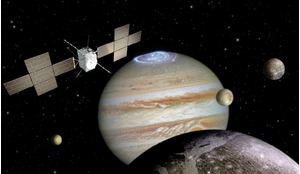Artist's impression depicting the JUICE spacecraft.
