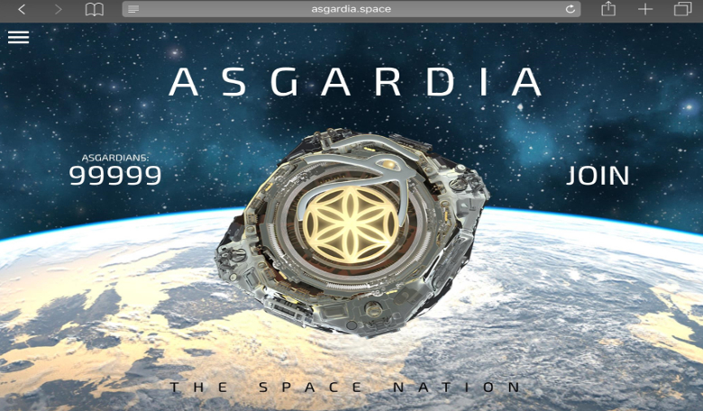 Image of Asgardia website showing number of citizens who have signed up to be Asgardians