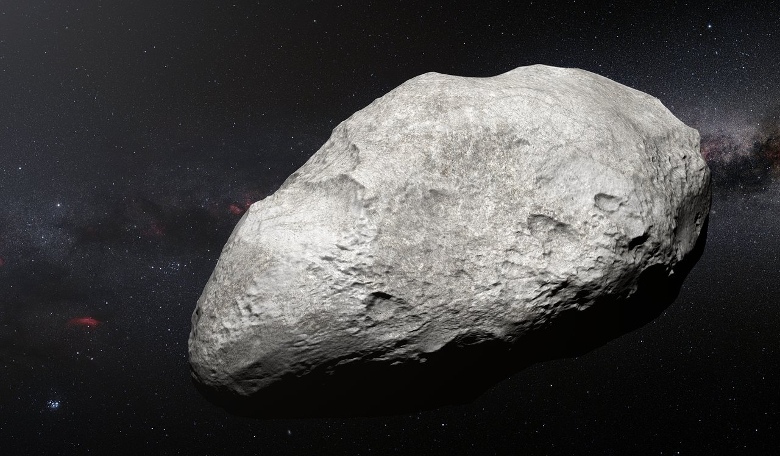 An artist's impression of asteroid 2004 EW95; a relic of the primordial Solar System and the first carbon-rich asteroid confirmed to exist in the Kuiper Belt. Image: ESO/M. Kornmesser