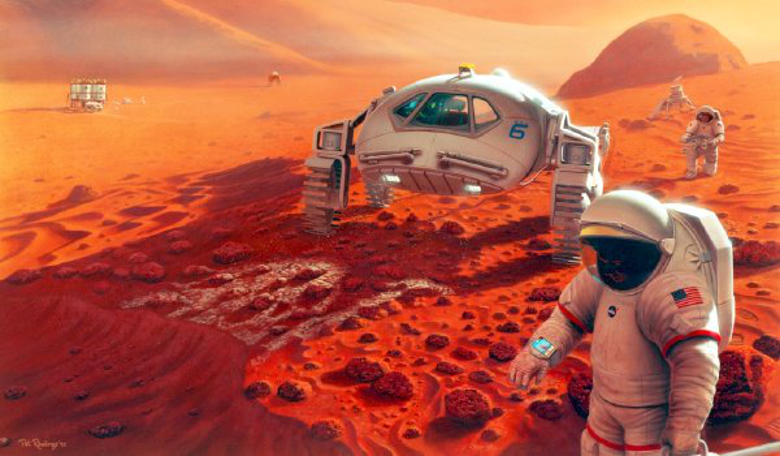 An artists impression of astronauts collecting samples on Mars. Image: NASA