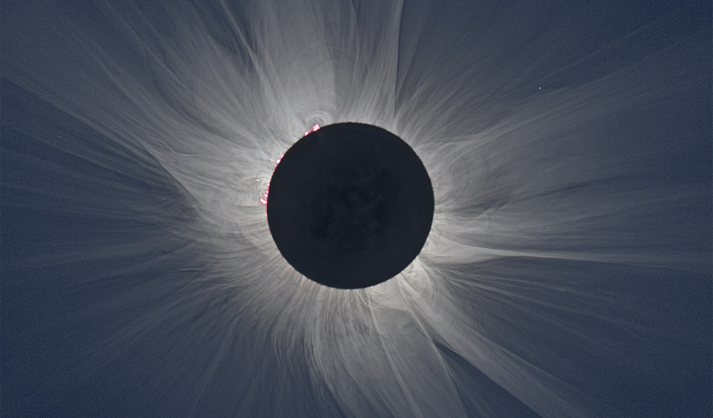 An eclipse of the sun showing the glowing white corona. Image: NASA, S. Habbal, M. Druckmüller, and P. Aniol