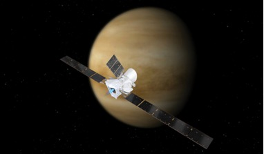 An artists rendering of ESA's and JAXA's BepiColombo mission in orbit around Venus; the first of two flybys will occur on 15 October, 2020. Image: ESA