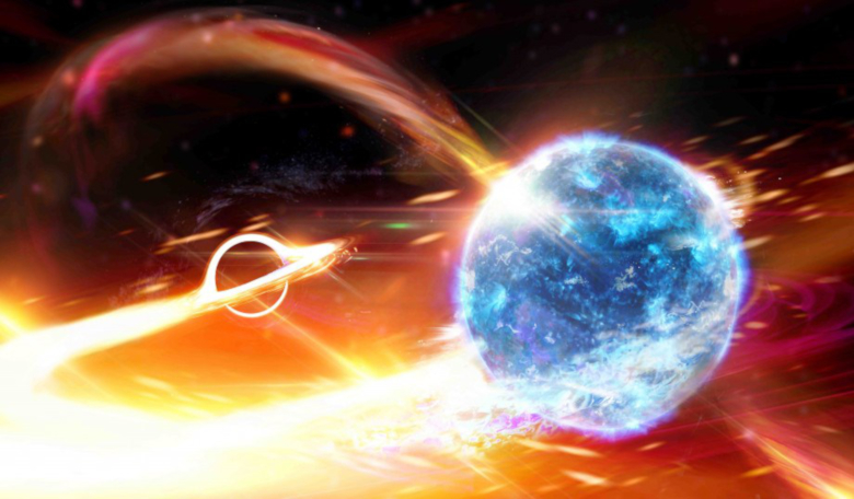 An artist's depiction of a black hole swallowing a neutron star. Image: Carl Knox/OzGrav ARC Centre of Excellence