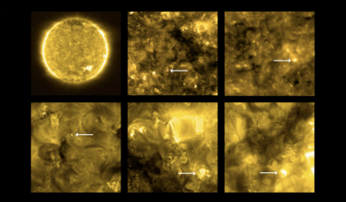 The new high-resolution images from Solar Orbiter shows 'campfires' on the Sun. Locations of campfires are annotated with white arrows. Image: Solar Orbiter/EUI Team (ESA & NASA); CSL, IAS, MPS, PMOD/WRC, ROB, UCL/MSSL