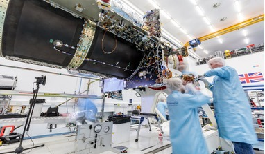 The SSTL-built Eutelsat Quantum platform is pictured in SSTL's cleanroom in Guildford, UK. Image: SSTL