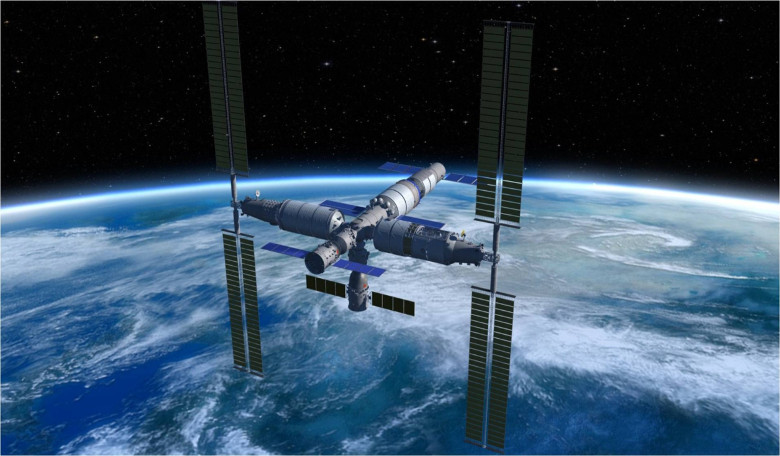 An artist's illustration of China's planned space station, which is aiming for an operation date of 2022. Image: CMSE