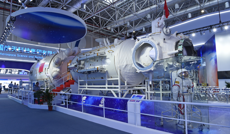a full-size model of the core module of China's space station Tianhe. Image: Xinhua/Liang Xu