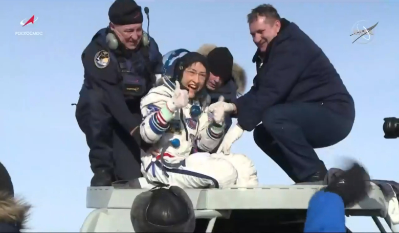 NASA astronaut Christina Koch gives a thumbs-up as she emerges from the Soyuz spacecraft that carried her home 6 Feb, 2020, from a record-setting 328-day mission aboard the ISS. Image: NASA