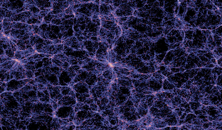 Image of the 'cosmic web', the large scale structure of the universe. Each bright knot is an entire galaxy, while the purple filaments show where material exists between the galaxies. Image: AKVO