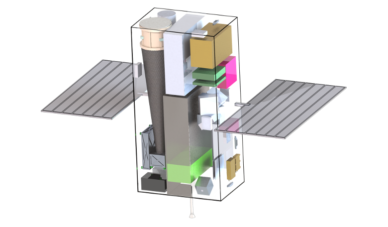 A rendering showing the conceptual CubeX spacecraft, which would demonstrate X-ray navigation during its mission investigating the Moon. Image: Harvard University