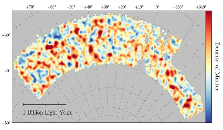 Map of dark matter made from gravitational lensing measurements of 26 million galaxies in the Dark Energy Survey. Red regions have more dark matter than average, blue regions less dark matter. Image: Chihway Chang/University of Chicago/DES collaboration