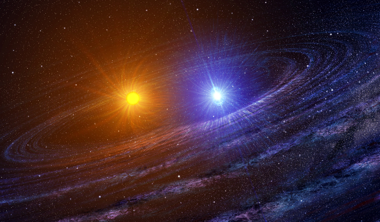 An artist's conception of a binary star system. Image: NASA/Casey Reed