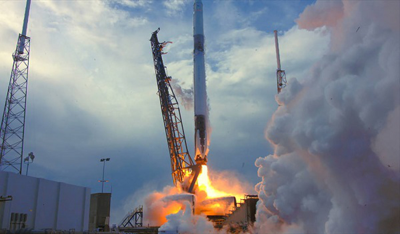 SpaceX Falcon 9 lifts off with a Dragon resupply ship on 2 April, 2018, carrying onboard a storm-hunting mission from ESA and a RemoveDebris experiment from SSTL (Image: NASA)