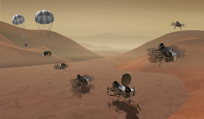Dragonfly is a dual-quadcopter lander that would take advantage of the environment on Titan to fly to multiple locations, some hundreds of miles apart, to sample materials and determine surface composition. Image: NASA
