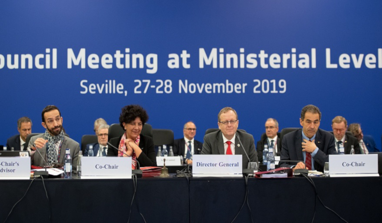 ESA Director General Jan Woerner at the Space19+ ministerial meeting seated next to cochairs Frédérique Vidal and Manuel Heitor. Image: ESA/S. Corvaja