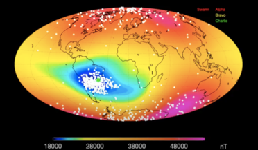 ESA's Swarm mission, magnetic  field, NASA's Goddard Space Flight Centre, South Atlantic Anomaly (SAA)