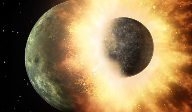 Artist's depiction of a collision between two planetary bodies. Such an impact between Earth and a Mars-sized object likely formed the Moon and filled our planet with water says a new study. Image: Wikipedia
