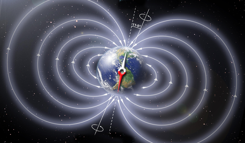Schematic illustration of Earth's magnetic field. Image: Peter Reid, The University of Edinburgh, NASA