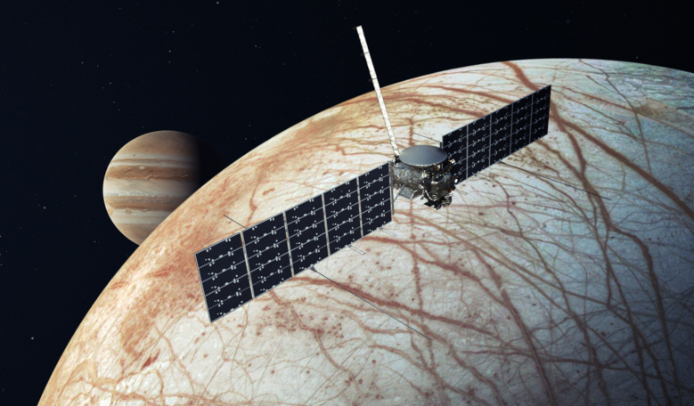 An artist's rendering showing NASA's Europa Clipper spacecraft, which is aiming for launch readiness by 2024 and could now make its way to the icy-world by way of a commercial launch vehicle instead of the SLS. Image: NASA