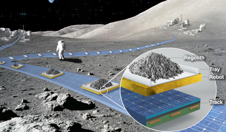 Artist's depiction of the FLOAT lunar railway system to provide reliable, autonomous, and efficient payload transport on the Moon. Image: Ethan Schaler