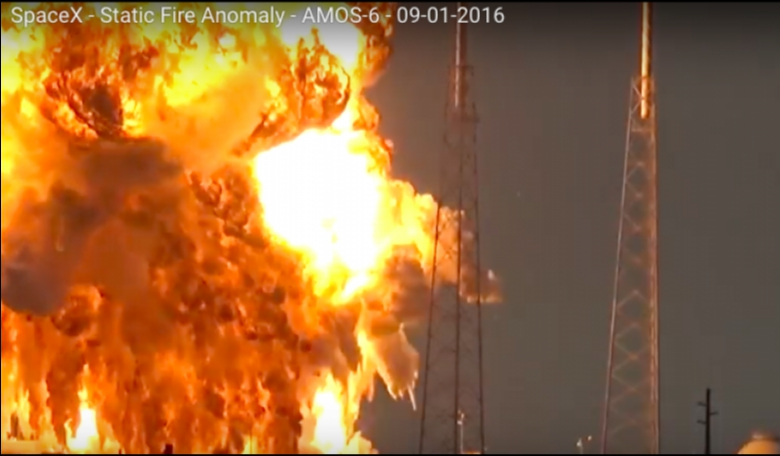 A SpaceX Falcon 9 rocket explodes during fueling operation in preparation for a static-fire test. Credit: USLaunchReport.com video