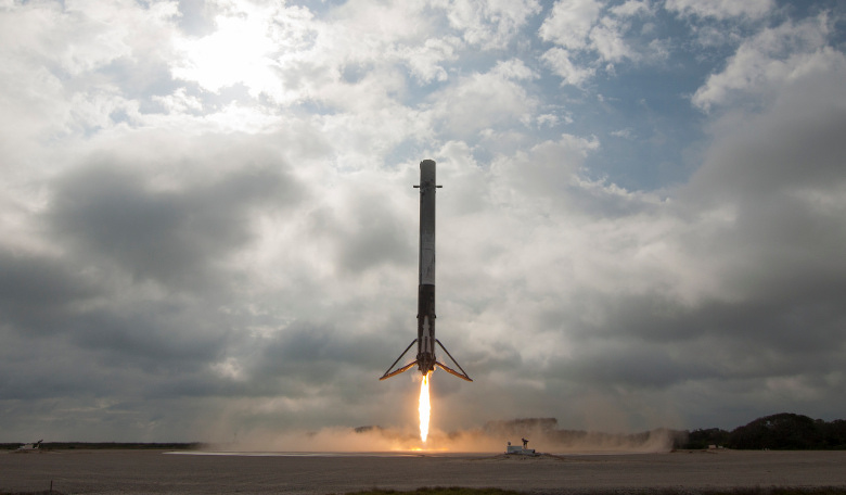A Falcon 9 first stage rocket - the type that will be relaunched for the first time this week. Image: SpaceX