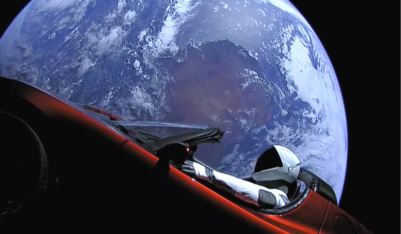 Elon Musk's red Roadster in Earth orbit. Image: SpaceX