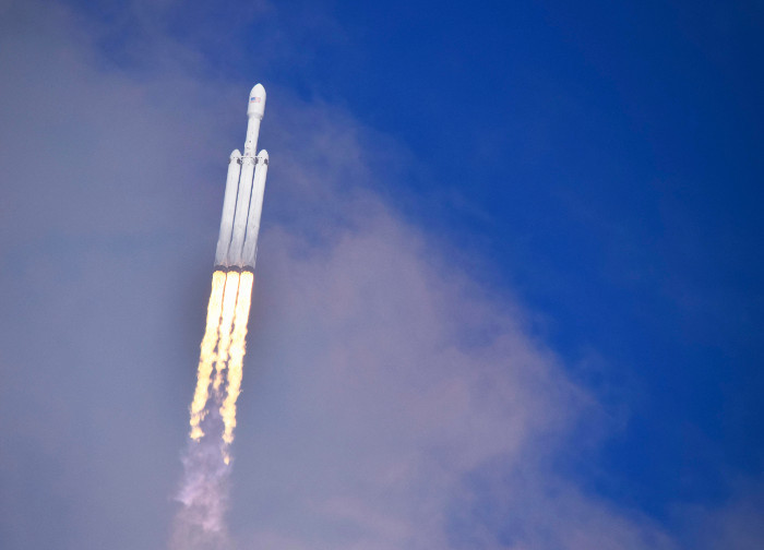 The first SpaceX Heavy powers into orbit. Image Jacques van Oene