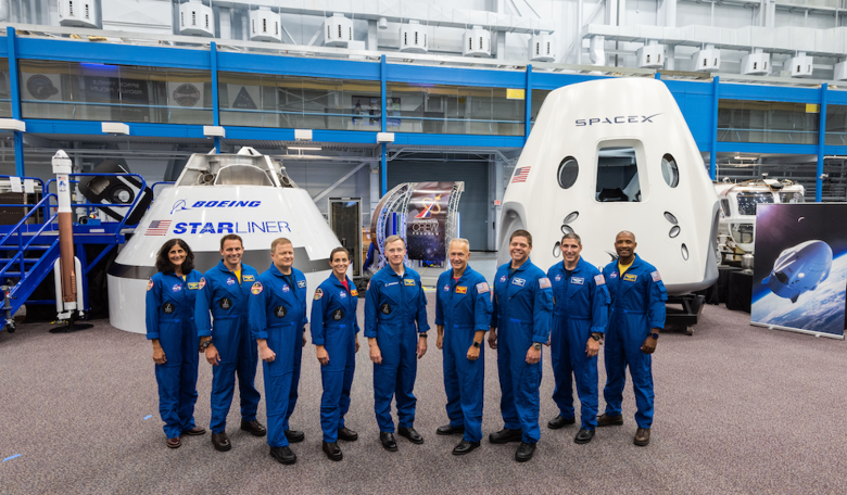 Meet the astronauts set to become NASA's first Commercial Crew. From left to right Sunita Williams Josh Cassada Eric Boe Nicole Mann Christopher Ferguson Douglas Hurley Robert Behnken Michael Hopkins and Victor Glover. Image NASA