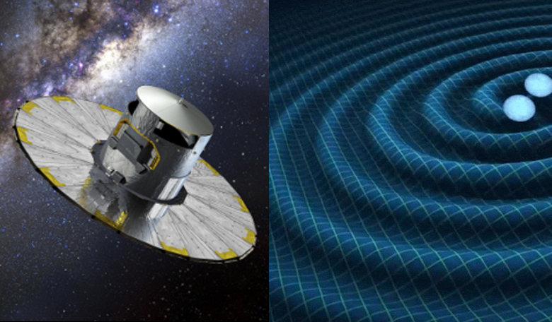 An artists impression of the Gaia spacecraft alongside a visualisation of gravitational waves. Images: ESA & NASA