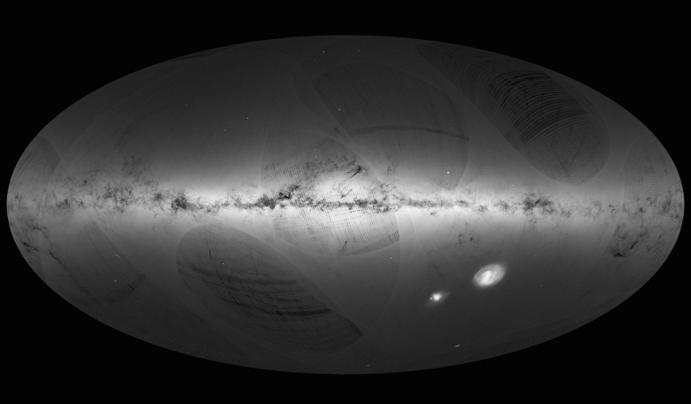 An all-sky view of stars in our Galaxy and neighbouring galaxies, based on the first year of observations from ESA's Gaia satellite, from July 2014 to September 2015. Image: ESA/Gaia/DPAC
