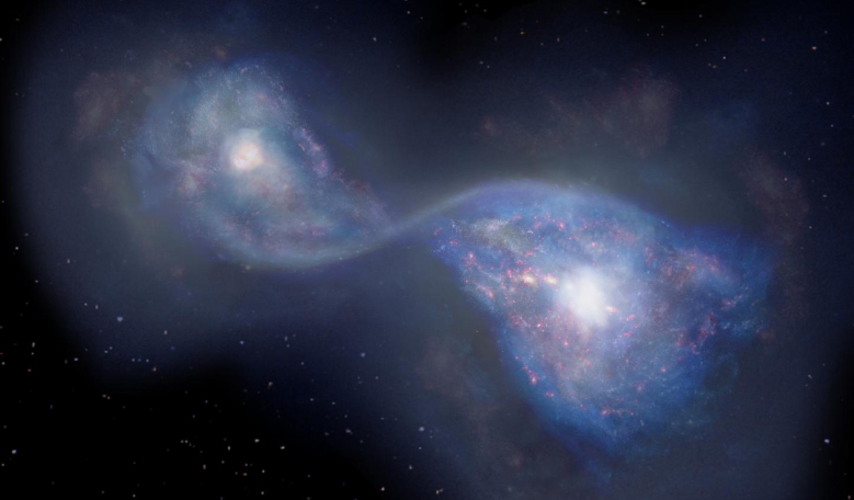 Artist's impression of the merging galaxies B14-65666 located 13 billion light years-away. Image: National Astronomical Observatory of Japan