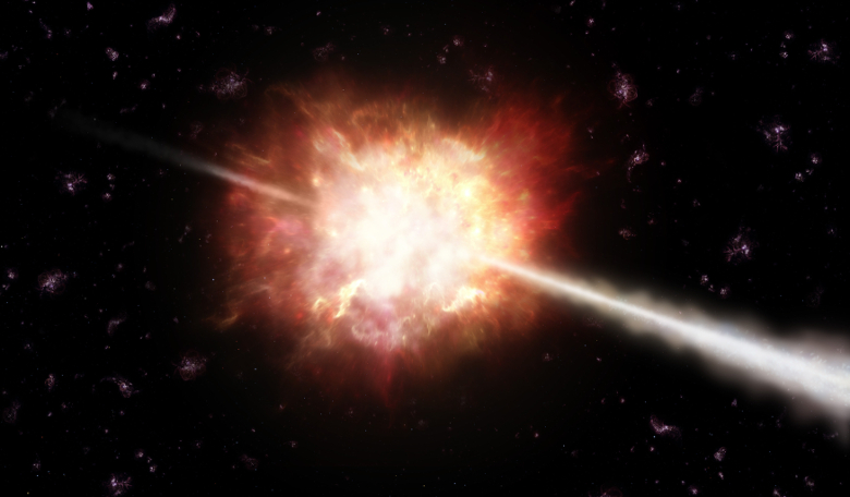 Gamma-ray bursts (GRBs) are powerful flashes of energetic gamma-rays lasting from less than a second to several minutes. Image: ESO/A. Roquette