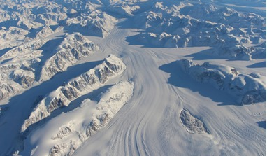 Could the Southern Highlands on Mars once have looked like Heimdal Glacier in southern Greenland? A new study suggests glaciers are responsible for creating river networks, not excessive liquid water. Image: NASA/John Sonntag