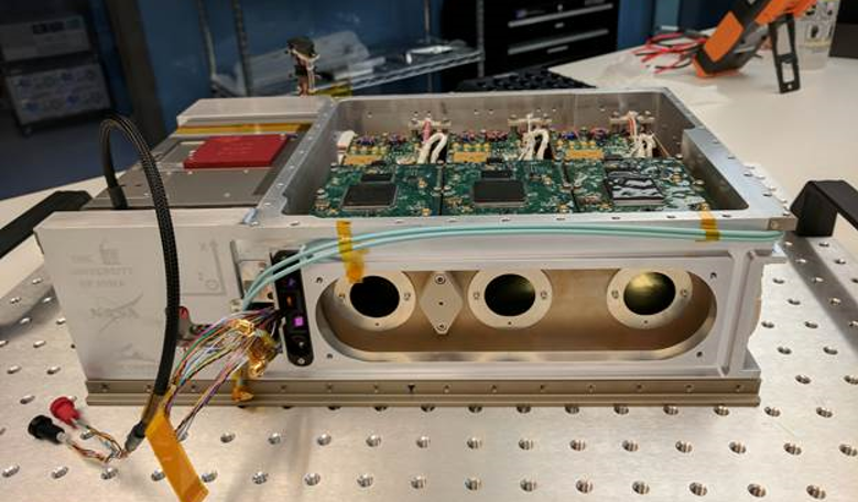 The HaloSat CubeSat getting prepped before its journey to the ISS. The CubeSat has recently launched from the ISS ready to start the mammoth task of finding the missing matter in the Universe. Image: University of Iowa