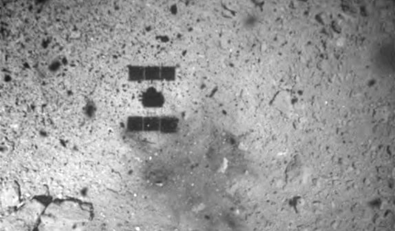 The Hayabusa 2 space probe after landing on the Ryugu asteroid. The picture was taken by its ONC-W1 camera. Photograph: Japan Aerospace Exploration Agency (JAXA)/Reuters