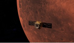 An artist's rendering of the Hope Probe in orbit around Mars following the spacecraft's successful MOI manoeuvre at 10:30am ET, 9 February, 2021. Image: UAE