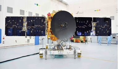 The UAE's Hope Probe pictured inside a clean room prior to its launch to Mars on Sunday 19 July, 2020. Image: MBRSC