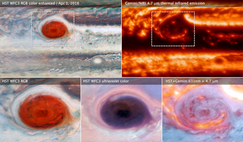 The above images of Jupiter's Great Red Spot were made using data collected by the Hubble Space Telescope and the Gemini Observatory on 1 April, 2018. Image: NASA, ESA, and M.H. Wong (UC Berkeley) and team
