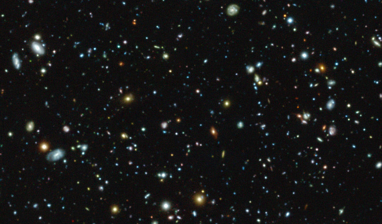 This colour image shows part of the Hubble Ultra Deep Field region, a tiny but much-studied region in the constellation of Fornax, as observed with the MUSE instrument. Image: ESO/MUSE HUDF collaboration