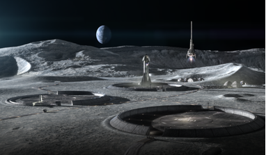 ICON illustration of a conceptual lunar base with 3D printed infrastructure, including landing pads and habitats. Image: ICON/SEArch+