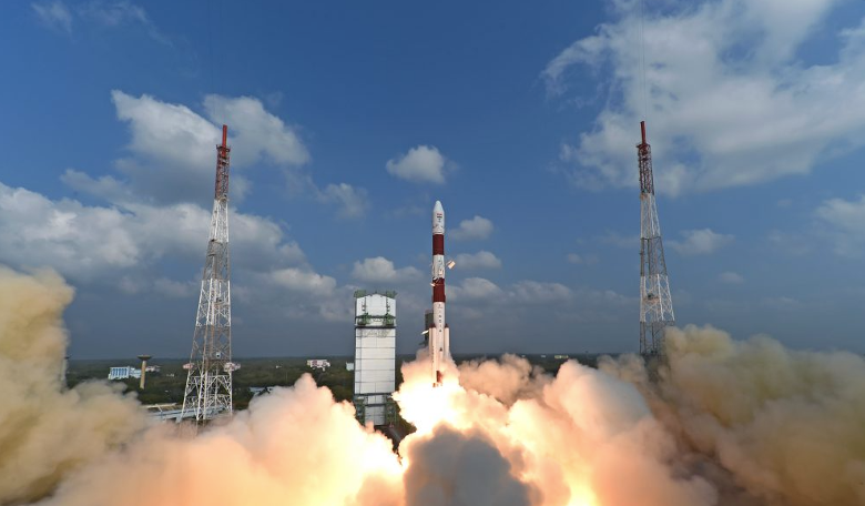The Polar Satellite Launch Vehicle (PSLV) rocket that shot skCUBE into space. Image: ISRO
