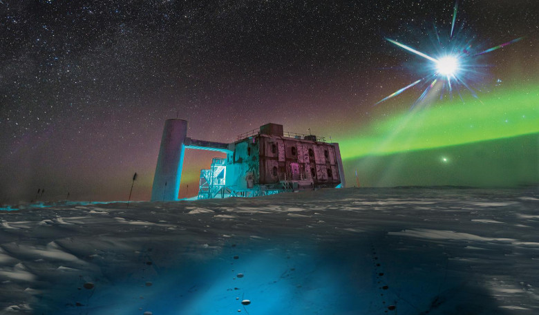 n this artistic rendering, based on a real image of the IceCube Lab at the South Pole, a distant source emits neutrinos that are detected below the ice by IceCube sensors. Image: IceCube/NSF