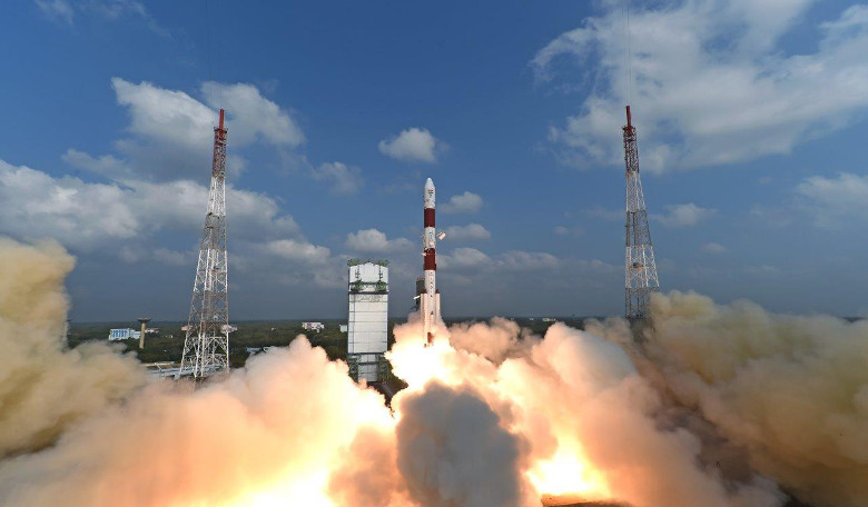 Lift-off of Indian Space Research Organisation's PSLV-C37 carrying a staggering 104 satellites. Image: ISRO