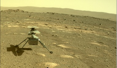 NASA's Ingenuity helicopter can be seen on Mars as viewed by the Perseverance rover's rear Hazard Camera on 4 April, 2021, the 44th Martian day, or sol of the mission. Image: NASA/JPL-Caltech
