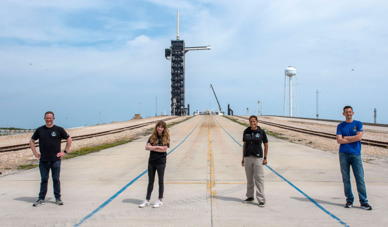 Inspiration4 crew members Chris Sembroski, Hayley Arceneaux, Sian Proctor, and Jared Isaacman are seen at Kennedy Space Center's pad 39A. Image: SpaceX