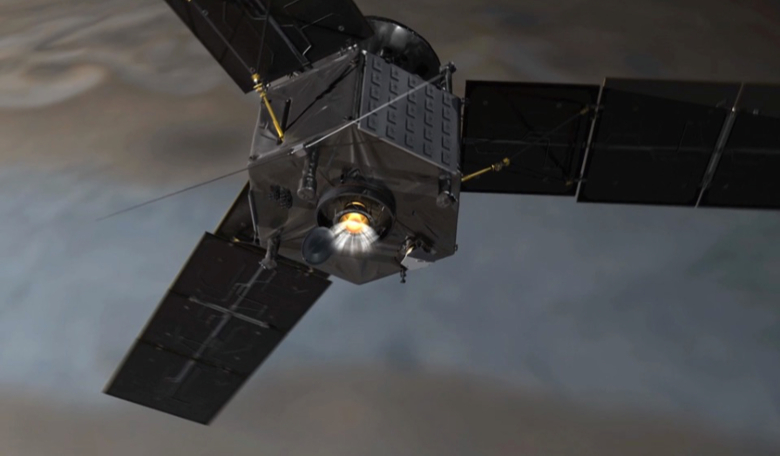 Juno fires its main engine during orbit insertion. Image: NASA/JPL-Caltech