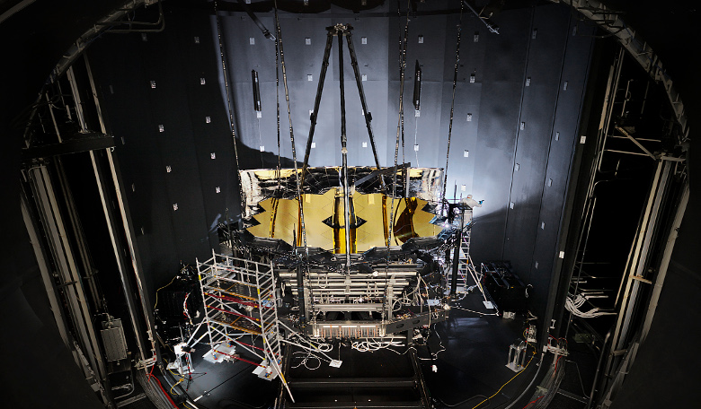 NASA's James Webb Space Telescope sits inside Chamber A at NASA's Johnson Space Centre after having completed its cryogenic testing. This marked the telescope's final cryogenic testing, and it ensured it is ready for space: Image: NASA/Chris Gunn