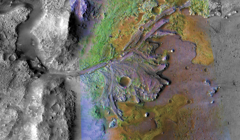 This image of Jezero Crater combines information from two instruments on NASA's Mars Reconnaissance Orbiter, the Compact Reconnaissance Imaging Spectrometer for Mars and the Context Camera. Credits: Credit NASA/JPL-Caltech/MSSS/JHU-APL