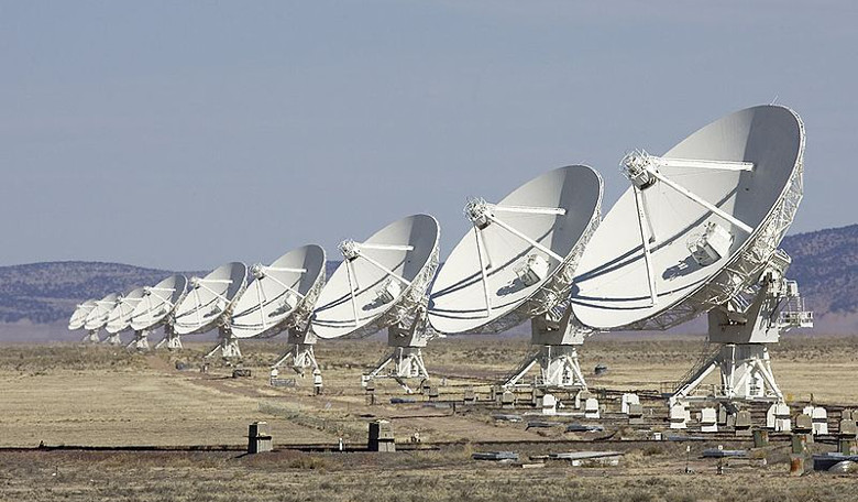 The Karl Jansky Very Large Array used by astronomers to make the first-ever precision localisation of a Fast Radio Burst. Image: Wikimedia